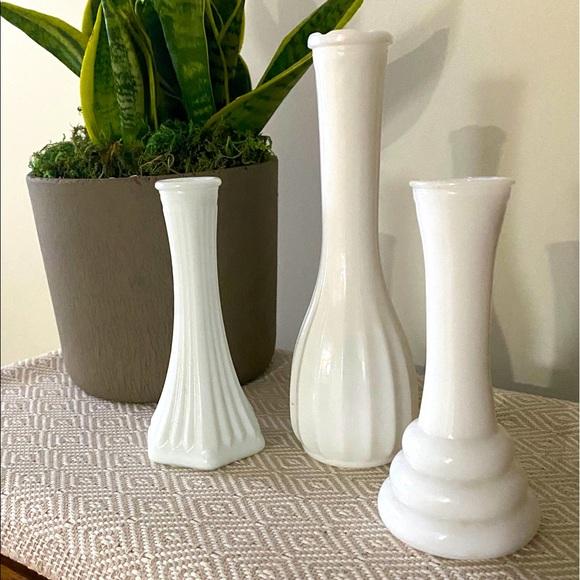 3 Vintage Milk Glass Vases Wedding Shower Plants